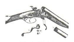 1 - барут; 2 - канал за поминување на пламенот; 3 - наковална; 4 - иницијална смеса.